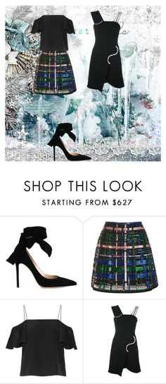 """""""Two outfits same shoes"""" by gildedroyal ❤ liked on Polyvore featuring Gianvito Rossi, Elie Saab, Fendi and David Koma"""