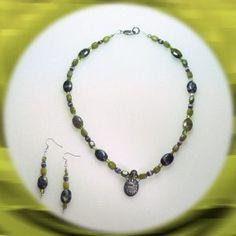 Peridot Scarab Pendant Green Jasper and Moss Agate Set