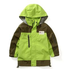 VARANY Hooded Windbreaker Rain Jacket (9-10, Green). Zipper closure. Attached, adjustable storm hood. Fabric: 100% Polyester. Suitable for Baby boys 2t-7t. Waterproof and breathable fully seam sealed.