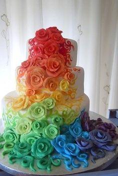 Show your pride with a rainbow cake. | 23 Super Cute Lesbian Wedding Ideas