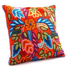 Karma Living Floral Crewel Embroidered Pillow at The Maverick Western Wear