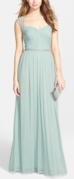 soft mint embellished gown. Love the sleeves