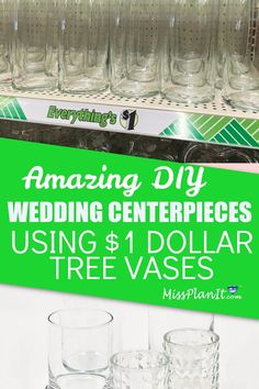 These wedding centerpieces are stunning and I was able to save a ton of money using $1 wedding vases from Dollar Tree!