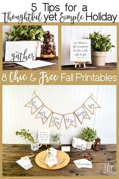Chic fall printables to transition from October through November! Harvest, Autumn, Thanksgiving... Elegant, free and easy to use! Swoon-worthy art from Page Of Joy includes: (There is always something to be thankful for) Pennant Banner, Place cards, invitation (gather), Thank you card (Thankful), Gratitude list, Bible Verse: Give thanks in all things print, Thankful/Grateful/Blessed print, and a blank pennant to DIY your own pennant banner!