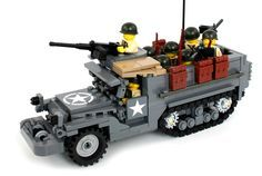 https://flic.kr/p/phs87q | M3A1 Half Track | Armored personnel carrier version of the M3 Half Track. This is the prototype model for the kit Brickmania released today. The kit version only comes with one minifig but I've crammed in eight additional figs plus equipment for demonstration purposes.