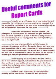 English worksheet: Comments for report cards - first part of the year
