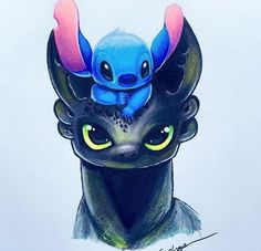 Cute drawing of Toothless & Stitch