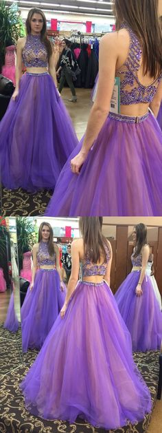 2017 prom dress, two piece prom dress, long prom dress, two piece prom dress, open back prom dress, evening dress, ball gown