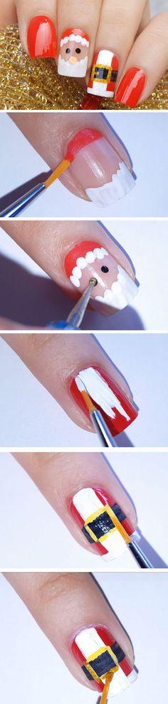 Santa & Suit | Easy Christmas Nail Designs for Short Nails