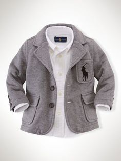 Shop for Cotton-Blend Fleece Blazer by Ralph Lauren at ShopStyle. Toddler Boy Fashion, Little Boy Fashion, Toddler Boys, Kids Fashion, Infant Boys, Baby Swag, Lil Boy, Cute Baby Boy, Baby Outfits