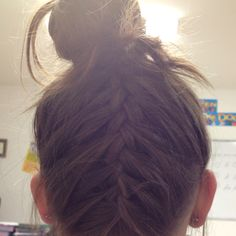 French braid on back of head.