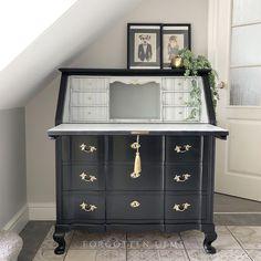 Writing Bureau, Antique Writing Desk, Antique Desk, Repurposed Furniture, Painted Furniture, Furniture Makeover, Diy Furniture, Quality Furniture, Painted Secretary Desks