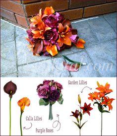 Burgundy Orange Lily Rose Wedding Bouquet