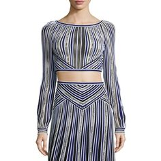 Roberto Cavalli Long-Sleeve Metallic Striped Crop Top ($1,990) ❤ liked on Polyvore featuring tops, blue, women's apparel activewear, blue long sleeve top, boat neck tops, striped boatneck top, long sleeve tops and striped crop top