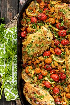 Mediterranean Roasted Chicken Breasts w/ Tomatoes and Cannelli Beans