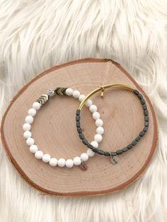 White Jade with Gold Chevron – Madison+Barrett Gold Chevron, White Jade, Beaded Bracelets, Sterling Silver, Beads, Jewelry, Beading, Bead, Jewels