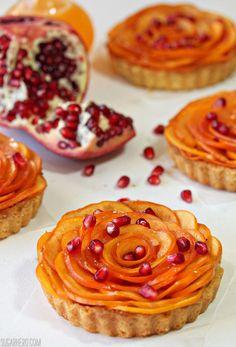 Persimmon Almond Rosette Tarts   From SugarHero.com