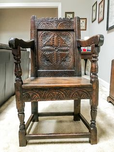 Charles I Oak Wainscot Chair - Circa 1625