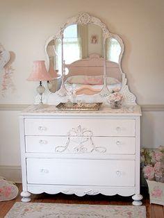 Stunning White Antique Dresser with Tiara Mirror