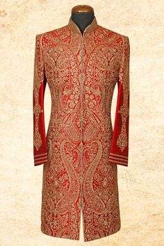 #Red graceful #raw silk sherwani with bandhgala-IW654