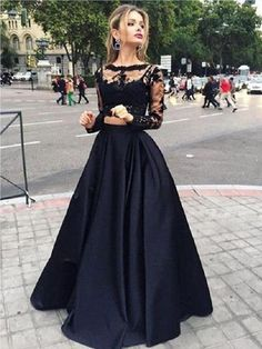 Two Piece Black A Line Lace Top Long Sleeves Formal Prom Dress Black Lace Prom Dresses, Black Prom Dresses, Prom Dresses A-Line, Prom Dresses Lace, Prom Dress Prom Dresses 2019 Prom Dress Black, Prom Dresses Two Piece, Prom Dresses 2016, Dress Prom, Party Dresses, Occasion Dresses, Gowns 2017, Pageant Dresses, Quinceanera Dresses