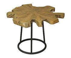 Mesa de centro en madera de teca tallada a mano Hirra - natural