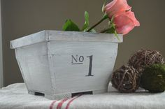 A  wooden planter box in a hand painted, french vintage look- Treasury List Item