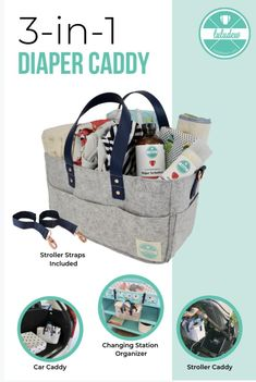 Luludew's 3 in 1 Diaper Caddy is AMAZING! Use it as a stroller caddy, changing station organizer, or car caddy ! it has rose gold details and its 100 % vegan . Perfect for cloth diapers .