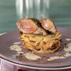 Steak de thon au poivre, gratin dauphinois