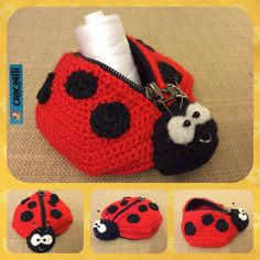 Free crochet pattern in German for ladybug coin purse