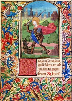 Illuminated Manuscript: Saint Michael Battling a Demon from a 15th Century Book of Hours. illuminated Manuscript.