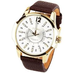 Curren Quartz Watch with 1 Number and Strips Indicate with Round Dial... ($9.45) ❤ liked on Polyvore featuring men's fashion, men's jewelry, men's watches, mens leather watches and mens quartz watches