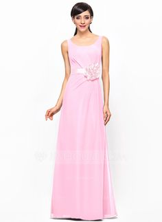 A-Line/Princess Scoop Neck Floor-Length Chiffon Bridesmaid Dress With Ruffle Flower(s) (007052240) - JJsHouse