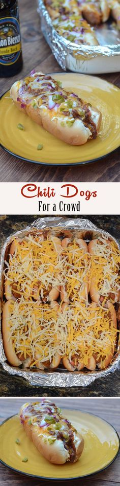 A great way to bake up a big batch of chili dogs all at once. Perfect for feeding a group on game day! ~ http://www.fromvalerieskitchen.com                                                                                                                                                                                 More