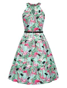Cute Flamingo Print Keyhole Summer Dress