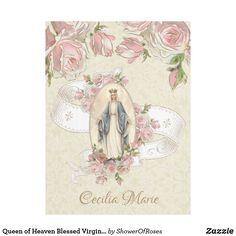 Shop Queen of Heaven Blessed Virgin Mary Pink Roses Fleece Blanket created by ShowerOfRoses.