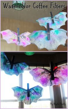 Bats Nocturnal Animals. Coffee Filter Bats Preschool Craft. Coffee Filter Process Art.