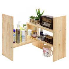 GTE Adjustable Natural Bamboo Desk Bookshelf for Office Home Expandable Tidy Bamboo Desktop Storage Organizer Display Shelf Rack Counter Top Bookcase - 3 Colors Available - Beige - Fulfilled by GTE SHOP Office Supply Organization, Bookcase Organization, Woodworking Furniture, Diy Furniture, Shelves, Simple Desk, Office Cube, Desk Shelves, Desktop Shelf