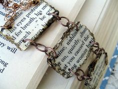Page from a fav book cut out to make a bracelet of your fav books..love this idea