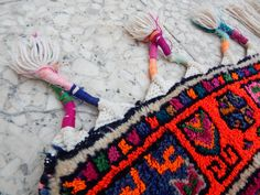 Colorful Vintage Moroccan Berber Rug in pink green by HANDSONHIPS