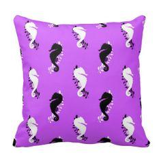 Purple Seahorse Beach throw Pillow