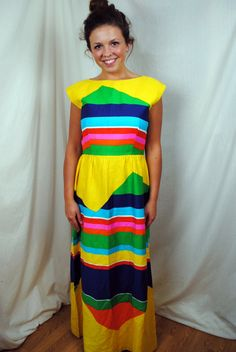 714f74e9090 Vintage 1960s Malia Rainbow Hawaiian Summer Maxi Dress