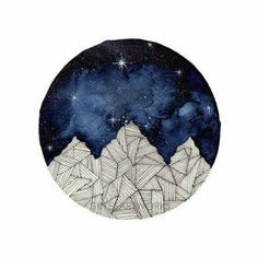 round watercolor, mountains, starts, night