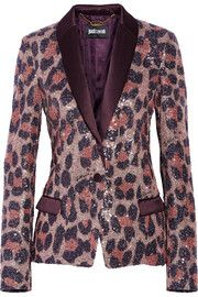 Just Cavalli Sequined printed tulle blazer