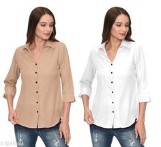 Checkout this latest Shirts Product Name: *Fashionable Contemporary Women's Polyester Solid Women's Shirts(Pack Of 2)* Fabric: Polyester Sleeve Length: Three-Quarter Sleeves Pattern: Solid Multipack: 2 Sizes: S, M, L, XL Country of Origin: India Easy Returns Available In Case Of Any Issue   Catalog Rating: ★3.8 (293)  Catalog Name: Fashionable Contemporary Women's Polyester Solid Women's Shirts Combo CatalogID_446822 C79-SC1022 Code: 405-3240584-1131