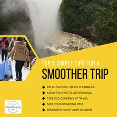 Top 5 Simple Tips for a Smoother Trip Travel is full of major decisions — like which country to visit, how much to spend, and when to stop waiting and finally make that all-important airfare purchase. Countries To Visit, Save Yourself, Knowing You, Travel Tips, Boarding Pass, Waiting, Adventure, Country, World