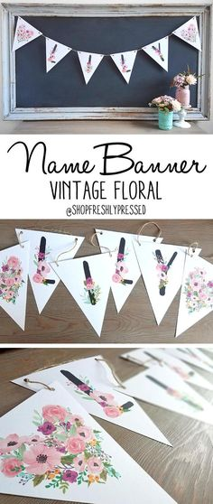 "How pretty would this custom floral name banner look in your daughters room or nursery? Personalized banners also make a thoughtful gift and works perfectly for photo shoots and celebrations! Printed on white cardstock each flag measures 8.5 tall x 7.25 wide. Made with rustic twine, banners will have an additional 2 feet of twine on each side for hanging.  …………………………………. CUSTOMIZING/HOW TO ORDER: • Order includes 2 flags with floral hearts • Select correct ""LENGTH OF NAME"" and add to car..."