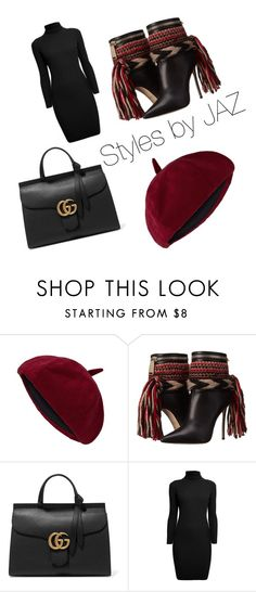 """""""Burgundy and Black..."""" by harrisjazmin on Polyvore featuring Dsquared2, Gucci, Rumour London, women's clothing, women, female, woman, misses and juniors"""