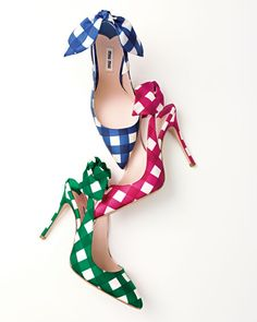 Miu Miu Check Bow-Detail Slingback Pump