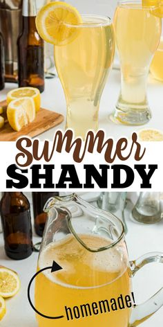 Lemonade Beer is a refreshing summer shandy with a tangy combination of light beer and lemonade, and a shot of rum! Beach Drinks, Summer Drinks, Fun Drinks, Alcoholic Drinks, Beverages, Cocktails, Fruity Drinks, Cocktail Drinks, Cocktail Recipes